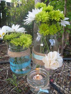 DIY - mason jar centerpiece with burlap flower