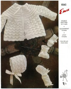 Baby matinee set jacket bonnet mits and bootees beautiful vintage knitting pattern PDF