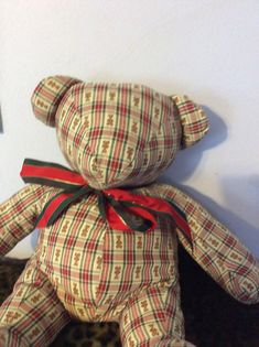 Holiday Sale Holiday Teddy Bear red  green and white by EMTWTT