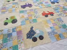 I combined applique blocks with my tiny scrappy squares to make a baby quilt!