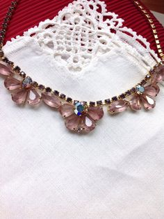 Art Deco Pink Topaz Necklace Pale Amethyst by ColorsoftheSeasons