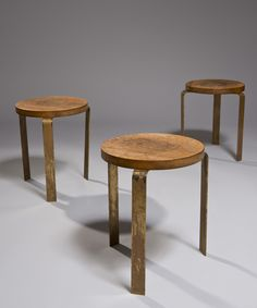 André Sornay; Wood and Brass Stools, 1950s.