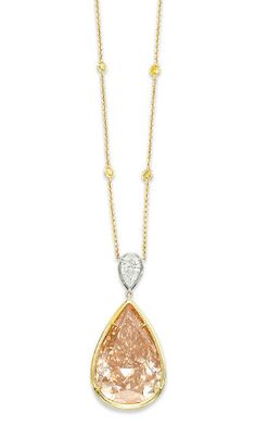 35.55 carat fancy pink-brown pear shaped diamond necklace to be auctioned at Christie's Geneva on May 16 http://www.christies.com/