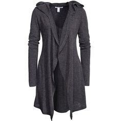 Nly Trend Long Hooded Cardigan ($58) ❤ liked on Polyvore featuring tops, cardigans, grey, jumpers & cardigans, womens-fashion, grey top, long see through cardigan, see through cardigan, long hooded cardigan and sheer top