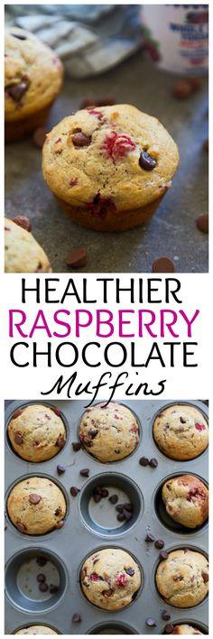 Healthier Raspberry Chocolate Muffins