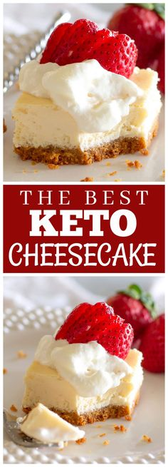 Keto Cheesecake is creamy and low-carb. It has a crunchy cinnamon graham cracker crust. #keto #cheesecake #recipe #dessert #lowcarb
