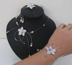 Parure Mariage ♥ Fleur satin gris argent collier bracelet + boucles +bijou de…