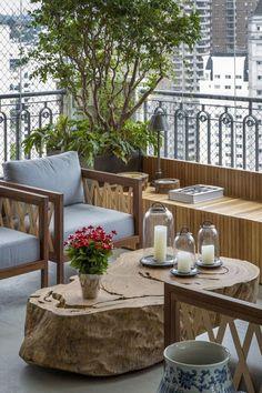 modern balcony design with wooden bench, tree stump coffee table, patio furniture … – Small Balcony Decor Ideas Porch And Balcony, Balcony Garden, Balcony Ideas, Balcony Blinds, Corner Garden, Balcony Railing, Pergola Roof, Pergola Kits, Balcony Furniture