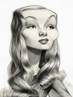 Veronica Lake, by Thierry Coquelet. Ballpoint on paper.