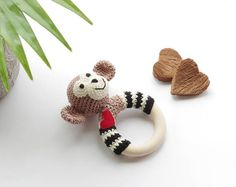 crochet monkey teething rattle / baby toy / shower nursery