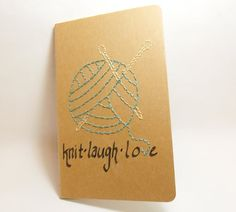 Knitter's Journal Hand Embroidered Notebook with Yarn and Motivational Text Upcycled Moleskine