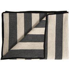 Tori Murphy Marshall Stripe Coal & Linen Throw (2,420 CNY) found on Polyvore