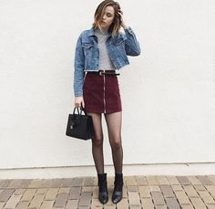 124 pretty fall outfits ideas for women that looks cool – page 1 Edgy Outfits, Mode Outfits, Skirt Outfits, Outfits For Teens, Fashion Outfits, Maroon Skirt Outfit, Fashion Boots, Tights Outfit, Teenager Outfits