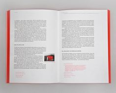 Detail spread from Kunst Als Negation, designed by Cedric Vilim. The footnotes are especially striking in flourescent ink. The only weakness of this layout is the limited application of photos in a book about art.   http://fontsinuse.com/uses/2184/kunst-als-negation
