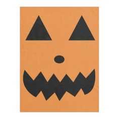 Orange Halloween Fleece Blanket Pumpkin Face - kids kid child gift idea diy personalize design