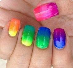 Rainbow ombre nail art