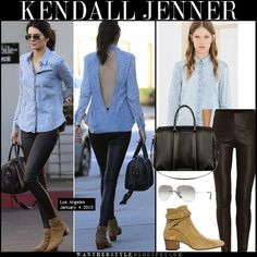 Kendall Jenner in blue denim shirt, black leather leggings, brown suede ankle boots with aviator sunglasses and black bag Los Angeles January 4 2015 Streetstyle Ankle Boots With Leggings, How To Wear Ankle Boots, Black Leather Leggings, Denim Leggings, Shoes With Jeans, Brown Ankle Boots, Suede Ankle Boots, Blue Denim Shirt, Denim Shirts