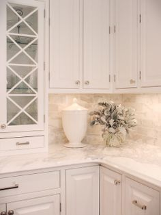 Calacatta marble backsplash and countertop