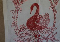 Vintage Textiles Red White Crewel Embroidery Swan 23.5 x 24.5 Vintage Linen by treasurestudio on Etsy https://www.etsy.com/listing/238065982/vintage-textiles-red-white-crewel
