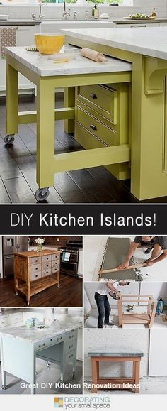More DIY Kitchen Islands! • Lots of Ideas and Tutorials! Easy DIY kitchen island tutorials to help create extra space in your small kitchen! Building a kitchen island is easy, and adds storage and counter space! Play Kitchen Diy, Kitchen Ikea, New Kitchen, Kitchen Storage, Kitchen Small, Kitchen Organization, Kitchen Sink, Organization Ideas, Kitchen Cabinets
