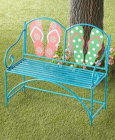 Fun beachy garden bench featured on Completely Coastal along with other coastal and beach theme bench ideas for coastal living. From upholstered storage benches to garden benches. Wood Storage Bench, Upholstered Storage Bench, Metal Garden Benches, Blue Flip Flops, Lakeside Collection, Modern Outdoor Furniture, Coastal Style, Coastal Living, Decks And Porches