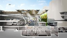 Image 4 of 5 from gallery of New Vision for Frankfurt Airport's Terminal 1 Forecourt / Grimshaw Architects. Courtesy of Grimshaw Architects Shopping Mall Architecture, Architecture 101, Architecture Drawings, Futuristic Architecture, Chinese Architecture, Frankfurt, Autocad, Airport Design, Study Room Design