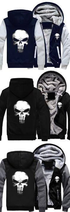 Autumn Winter Zipper Hoodie Punisher Skull Cosplay Fleece Unisex Thicken Jacket Sweatshirts casual  Coat