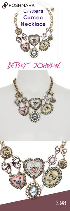 Betsey Johnson Cameo Critters Frontal Necklace Bulldog heart Cameo, Siamese cat cameo, Cheetah Cameo critters are wearing glasses and other accessories!  Dramatic frontal statement necklace that tells the world you have a sense of humor!  home, pet free zone. New and unused, pristine condition!  Has tags. Betsey Johnson Jewelry Necklaces