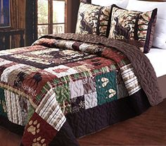 Greenland Home 3 Piece Whitetail Lodge Quilt Set, Full/Queen -- See this awesome product @ http://www.amazon.com/gp/product/B00XW2KCOM/?tag=sweethomeimprovement-20&puv=150716005359
