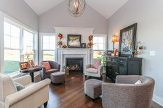 Hearth Room with Contemporary Style Furnishings