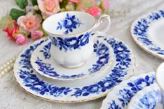 english tea cup floral tea cup set Royal by VintageTeaTimeByNiw