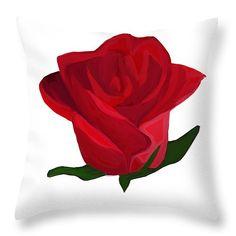 "Red Rose Throw Pillow 14"" x 14"""