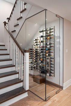 Wine Cellar Modern, Glass Wine Cellar, Home Wine Cellars, Wine Cellar Design, Home Stairs Design, Interior Stairs, Home Interior Design, Under Stairs Wine Cellar, Wine Cellar Basement
