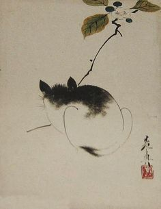 Cat. Leaf from an album of ten leaves by Shibata Zeshin, c. 1870s, Honolulu Museum of Art