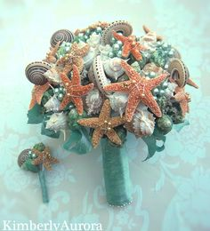 Lustrous Captiva Seashell Bridal Bouquet $285.00... seriously how EPIC is this for a beach wedding