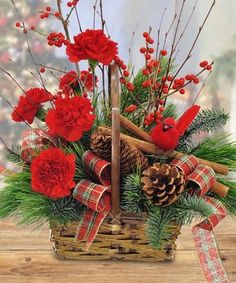 Cinnamon Basket by Mary Murray's Flowers #Tulsa #TulsaFlorist #Christmas