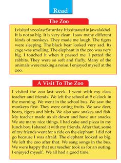 Grade 1 Narrative Writing A Visit To The Zoo English Stories For Kids, Learning English For Kids, Teaching English Grammar, English Worksheets For Kids, English Lessons For Kids, English Writing Skills, English Reading, English Language Learning, Learn English Words