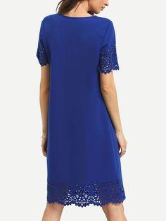 Blue Hollow Hem Shift Dress