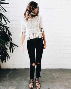 fringe top with distressed black jeans