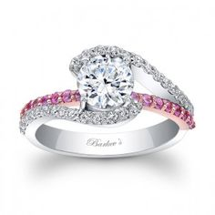 White & Rose Gold Engagement Ring. I love the pink