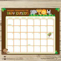 Safari Guess the Due Date Calendar Printable by stockberrystudio