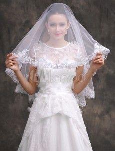 ウェディングベール ショートベール ホワイト 1層 刺繍入り ブライダルヴェール 新作 花嫁様向け