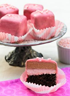 Chocolate Pomegranate Petit Fours Recipe ~ These little Valentine treats are dressed to impress! By @Sommer | A Spicy Perspective  I personally would have to make adjustments...but I must try these! :) Look so cute and yummyyyy :]