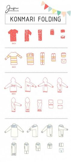 """""""Now that I have KonMari-ed all my clothes, how do I fold them correctly?"""" I am sure I am not the only one with this question. If you have seen my 10 illustrations that summarize the … organization Everything You Ever Need To Know About KonMari Folding Organisation Hacks, Storage Organization, Clothing Organization, Clothes Storage, Bathroom Organisation, Organizing Ideas, Diy Clothes Drawer Organizer, Bedroom Organization Tips, Kitchen Organization"""