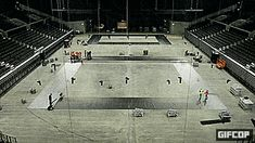 This 35 second (roughly) GIF shows (roughly) 3 weeks of progress of building a swimming pool for at the Royal Arena in Copenhagen.   Low res (-37%) saved to Pinterest due to size restrictions. Check website or other networks for larger size.