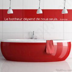 Stickers citation bonheur : Le bonheur dépend de nous seuls de Aristote - www.stickhappy.co...