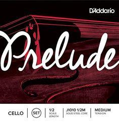 D'Addario Prelude Cello String Set, 1/2 Scale, Medium Ten…