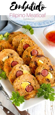 Try this delicious and easy to make Embutido a Filipino meatloaf made from ground pork made flavorful with onions carrots bell pepper relish and raisins. Made more special by adding egg and sausage filling. Perfect for everyday or special occasions. Filipino Recipes, Asian Recipes, Ethnic Recipes, Filipino Meatloaf Recipe, Filipino Dishes, Filipino Food, Pepper Relish, Bell Pepper, Pork Recipes