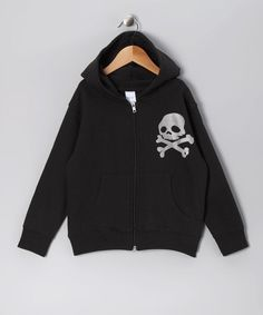 Take a look at this Black Skull Fleece Zip-Up Hoodie - Infant, Toddler & Kids by Micro Me on #zulily today!