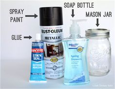 How to make your own Mason Jar Soap Dispensers - Awesome tutorial with lots of photos! at LoveGrowsWild.com #diy #masonjar